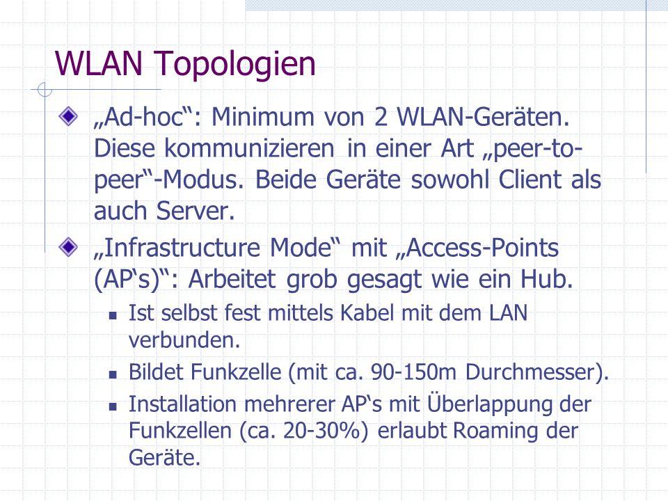 WLAN Topologien Ad-hoc: Minimum von 2 WLAN-Geräten.