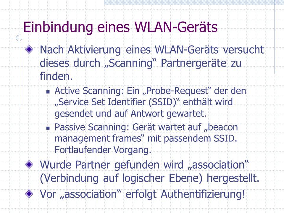 Einbindung eines WLAN-Geräts Nach Aktivierung eines WLAN-Geräts versucht dieses durch Scanning Partnergeräte zu finden.