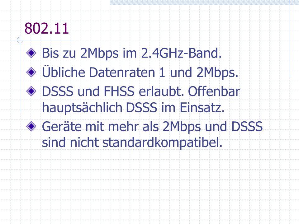 802.11 Bis zu 2Mbps im 2.4GHz-Band. Übliche Datenraten 1 und 2Mbps.