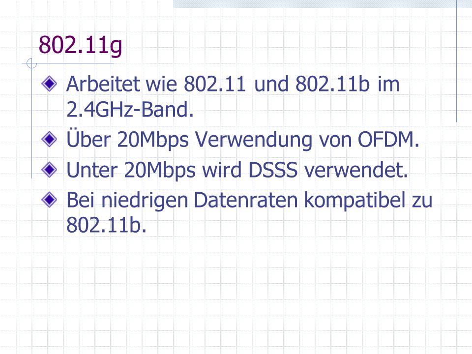 802.11g Arbeitet wie 802.11 und 802.11b im 2.4GHz-Band.