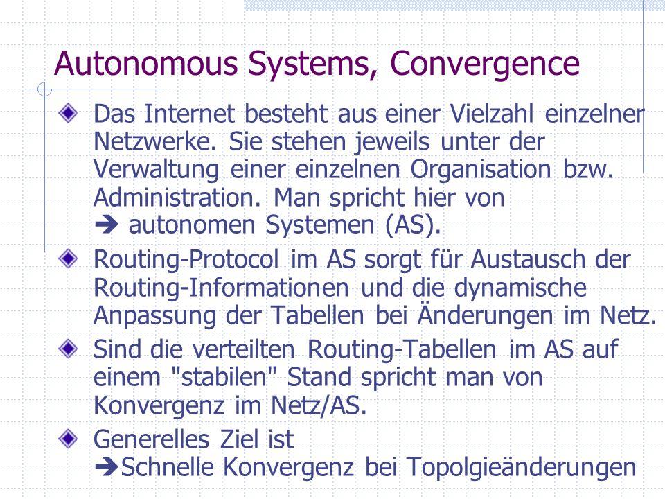 Autonomous Systems, Convergence Das Internet besteht aus einer Vielzahl einzelner Netzwerke.