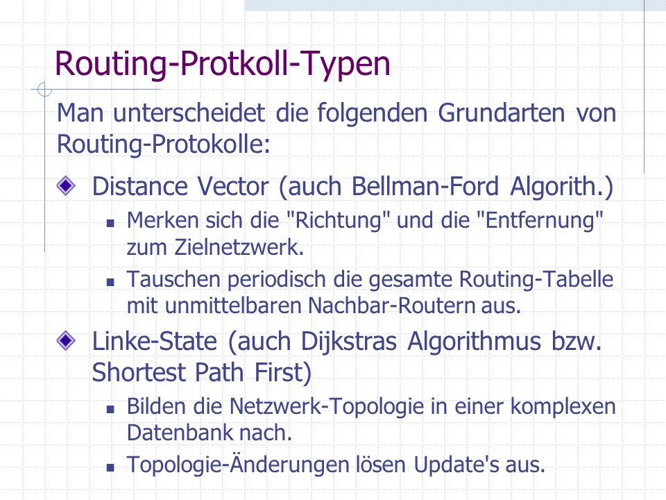 Routing-Protkoll-Typen Distance Vector (auch Bellman-Ford Algorith.) Merken sich die Richtung und die Entfernung zum Zielnetzwerk.