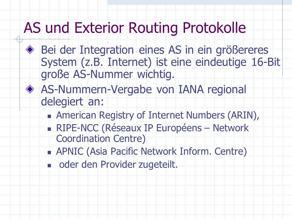 AS und Exterior Routing Protokolle Bei der Integration eines AS in ein größereres System (z.B.
