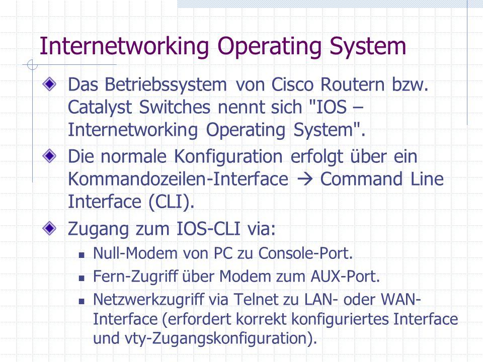 Internetworking Operating System Das Betriebssystem von Cisco Routern bzw. Catalyst Switches nennt sich