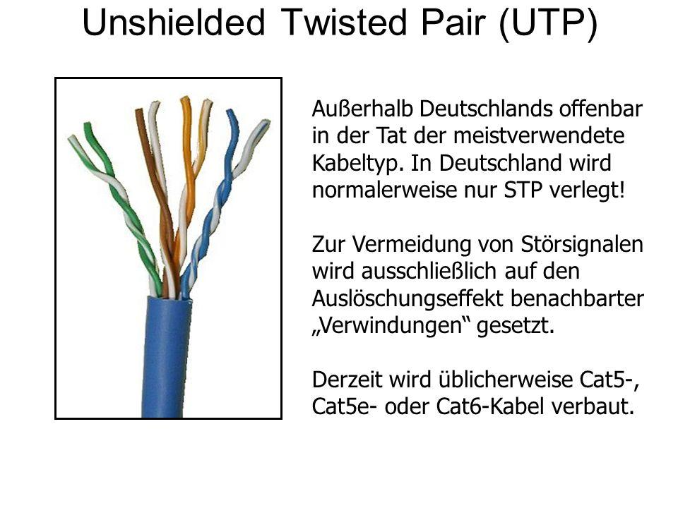 Unshielded Twisted Pair (UTP) Außerhalb Deutschlands offenbar in der Tat der meistverwendete Kabeltyp. In Deutschland wird normalerweise nur STP verle
