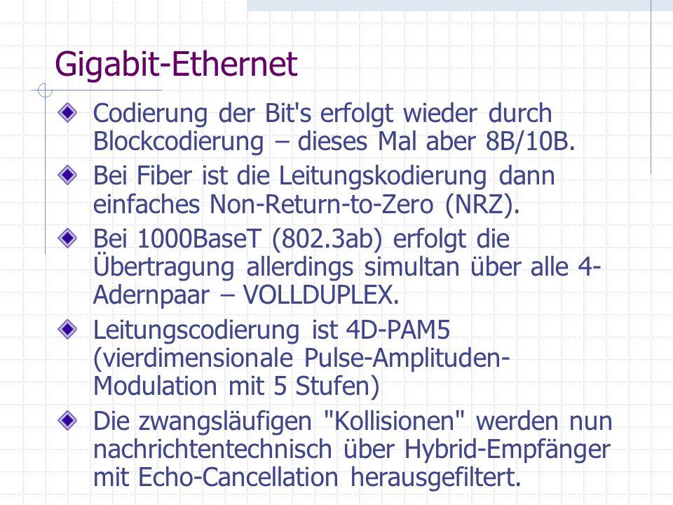 Gigabit-Ethernet Codierung der Bit's erfolgt wieder durch Blockcodierung – dieses Mal aber 8B/10B. Bei Fiber ist die Leitungskodierung dann einfaches