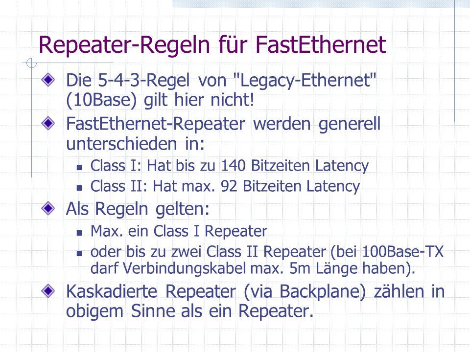 Repeater-Regeln für FastEthernet Die 5-4-3-Regel von Legacy-Ethernet (10Base) gilt hier nicht.