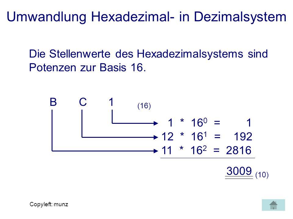 Copyleft: munz Umwandlung Hexadezimal- in Dezimalsystem Die Stellenwerte des Hexadezimalsystems sind Potenzen zur Basis 16. BC1 (16) 1 * 16 0 = 1 12 *