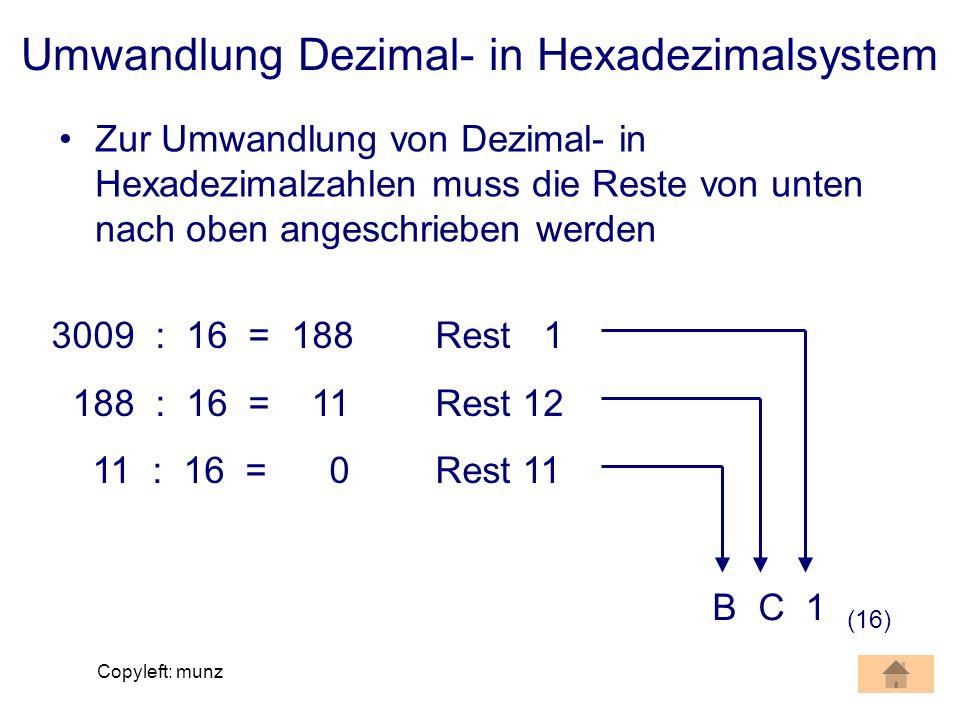 Copyleft: munz Umwandlung Dezimal- in Hexadezimalsystem Zur Umwandlung von Dezimal- in Hexadezimalzahlen muss die Reste von unten nach oben angeschrie