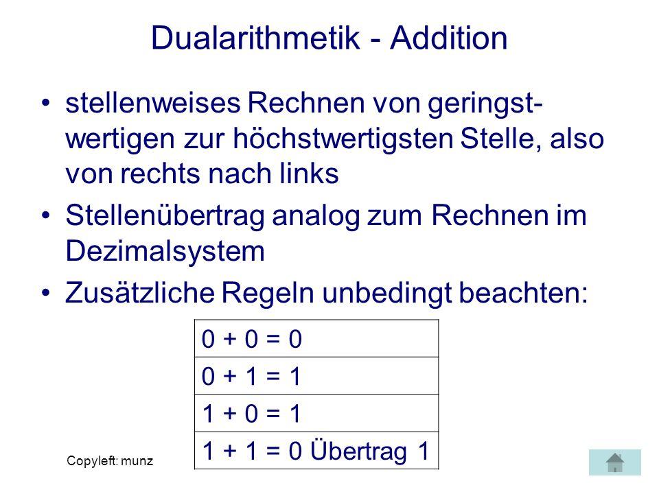 Copyleft: munz Dualarithmetik - Addition stellenweises Rechnen von geringst- wertigen zur höchstwertigsten Stelle, also von rechts nach links Stellenü