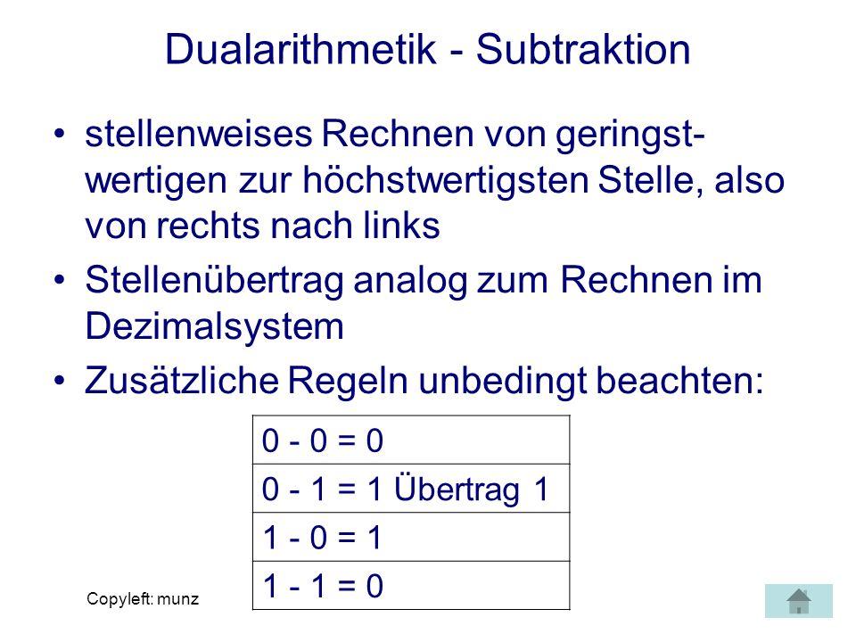 Copyleft: munz Dualarithmetik - Subtraktion stellenweises Rechnen von geringst- wertigen zur höchstwertigsten Stelle, also von rechts nach links Stell