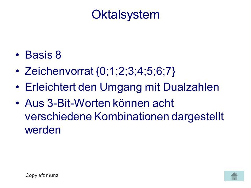 Copyleft: munz Dualarithmetik - Subtraktion stellenweises Rechnen von geringst- wertigen zur höchstwertigsten Stelle, also von rechts nach links Stellenübertrag analog zum Rechnen im Dezimalsystem Zusätzliche Regeln unbedingt beachten: 0 - 0 = 0 0 - 1 = 1 Übertrag 1 1 - 0 = 1 1 - 1 = 0