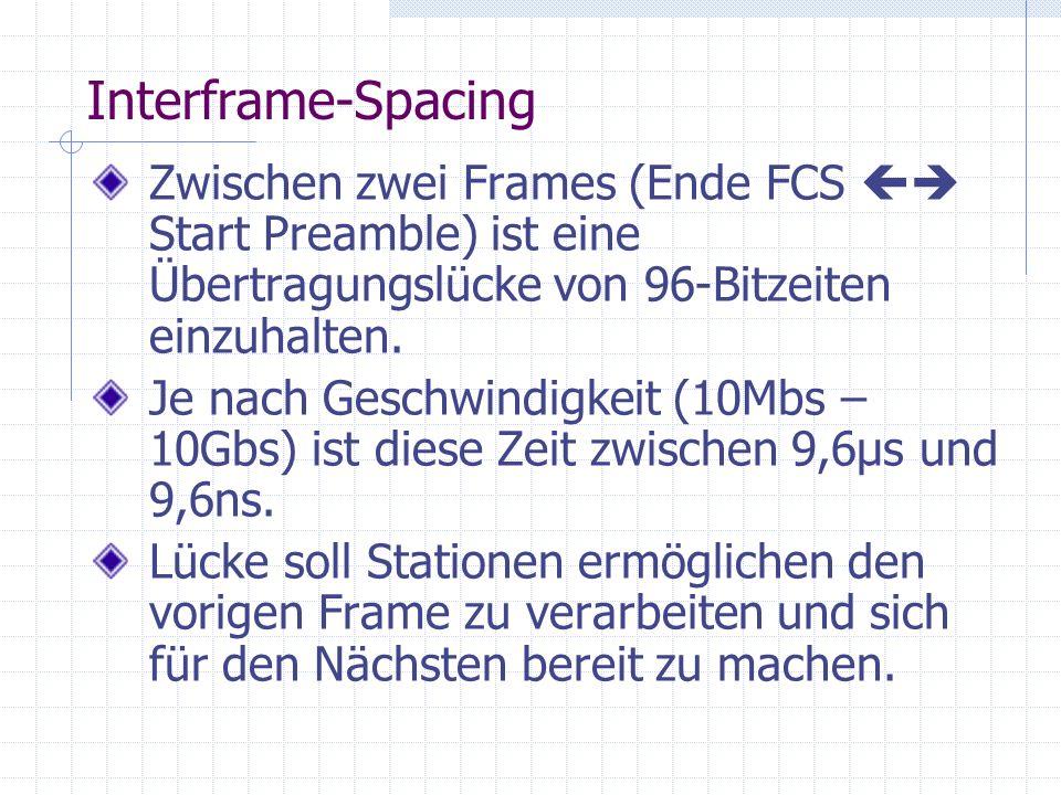 Interframe-Spacing Zwischen zwei Frames (Ende FCS Start Preamble) ist eine Übertragungslücke von 96-Bitzeiten einzuhalten. Je nach Geschwindigkeit (10