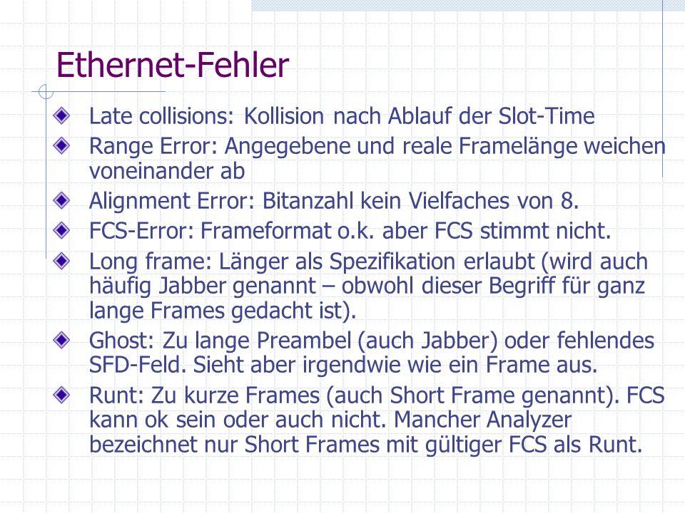 Ethernet-Fehler Late collisions: Kollision nach Ablauf der Slot-Time Range Error: Angegebene und reale Framelänge weichen voneinander ab Alignment Err