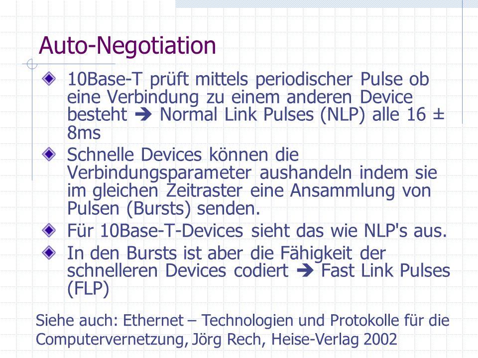 Auto-Negotiation 10Base-T prüft mittels periodischer Pulse ob eine Verbindung zu einem anderen Device besteht Normal Link Pulses (NLP) alle 16 ± 8ms S