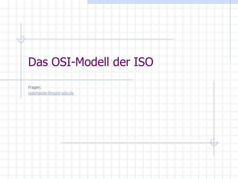 Das OSI-Modell der ISO Fragen: webmaster@munz-udo.de