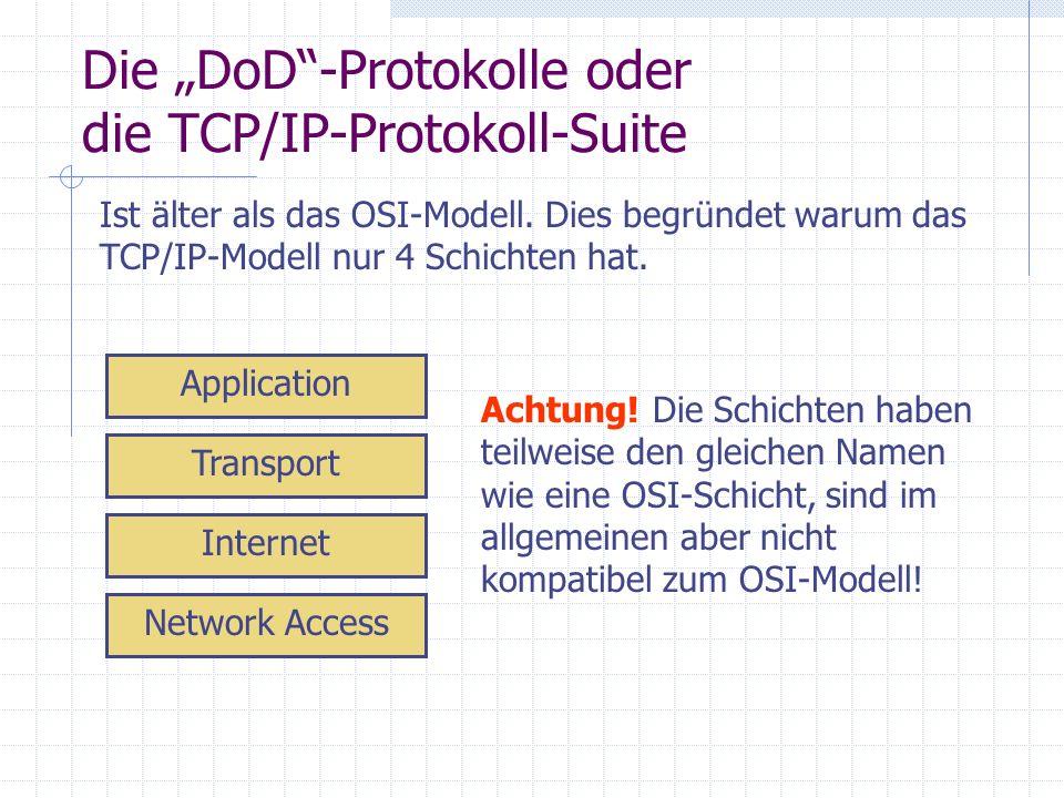 Die DoD-Protokolle oder die TCP/IP-Protokoll-Suite Ist älter als das OSI-Modell. Dies begründet warum das TCP/IP-Modell nur 4 Schichten hat. Network A