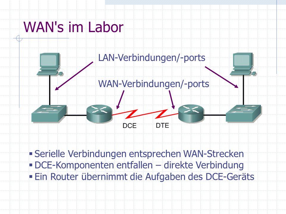WAN's im Labor Serielle Verbindungen entsprechen WAN-Strecken DCE-Komponenten entfallen – direkte Verbindung Ein Router übernimmt die Aufgaben des DCE