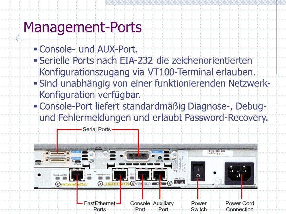 Management-Ports Console- und AUX-Port. Serielle Ports nach EIA-232 die zeichenorientierten Konfigurationszugang via VT100-Terminal erlauben. Sind una