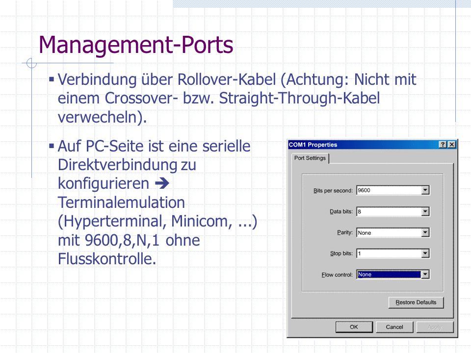 Management-Ports Verbindung über Rollover-Kabel (Achtung: Nicht mit einem Crossover- bzw. Straight-Through-Kabel verwecheln). Auf PC-Seite ist eine se
