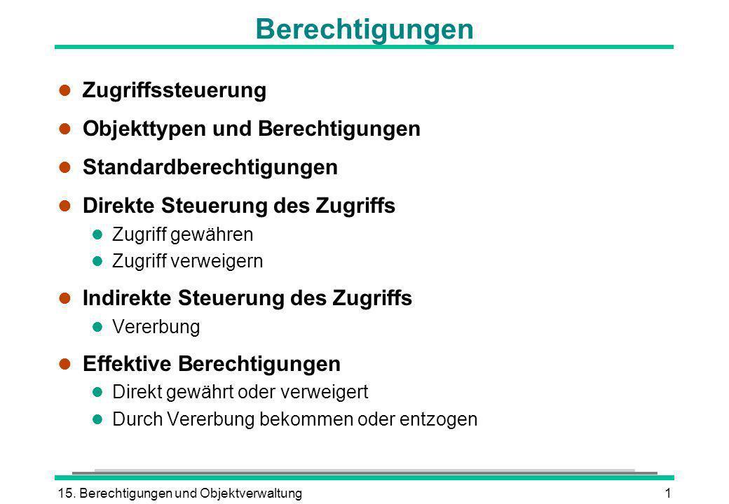15. Berechtigungen und Objektverwaltung1 Berechtigungen l Zugriffssteuerung l Objekttypen und Berechtigungen l Standardberechtigungen l Direkte Steuer