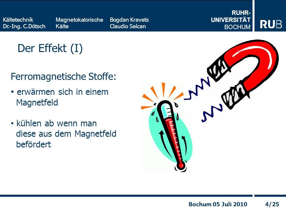 RUHR- UNIVERSITÄT BOCHUM Magnetokalorische Kälte Kältetechnik Dr.-Ing. C.Dötsch Bogdan Kravets Claudio Selcan 4/25Bochum 05 Juli 2010 Der Effekt (I) F