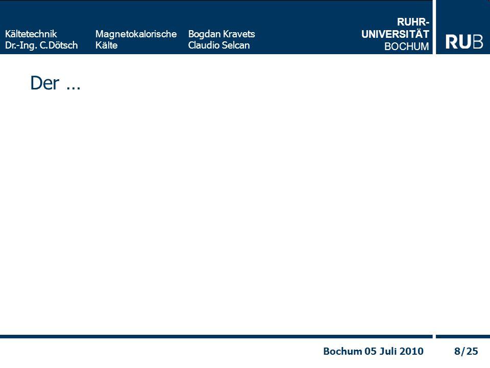 RUHR- UNIVERSITÄT BOCHUM Magnetokalorische Kälte Kältetechnik Dr.-Ing. C.Dötsch Bogdan Kravets Claudio Selcan 8/25Bochum 05 Juli 2010 Der …