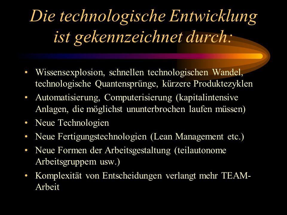 Die technologische Entwicklung ist gekennzeichnet durch: Wissensexplosion, schnellen technologischen Wandel, technologische Quantensprünge, kürzere Pr
