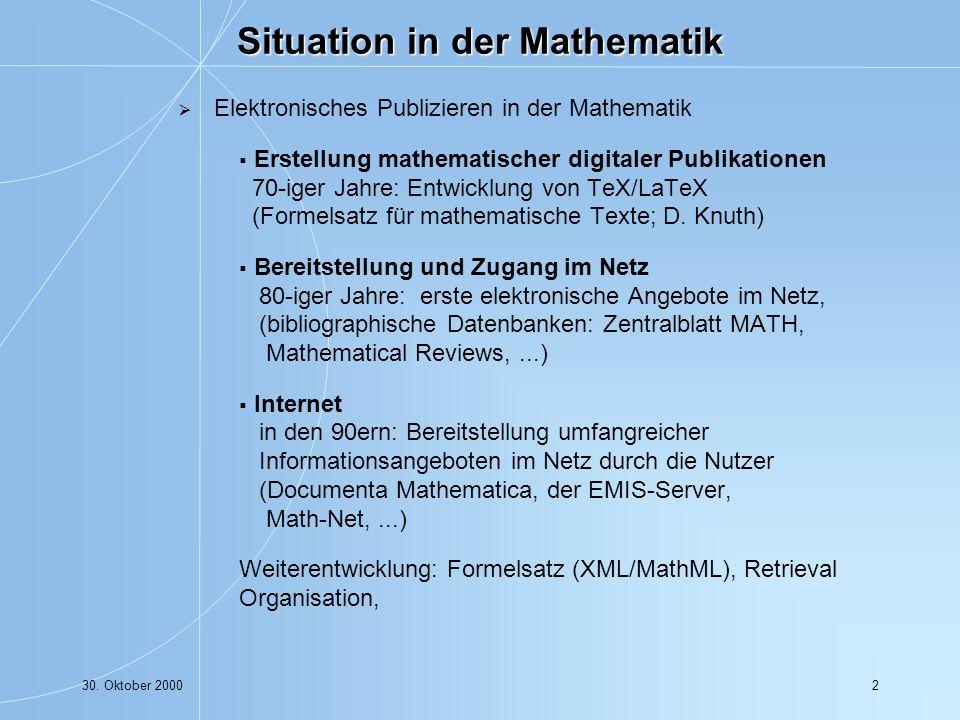 30. Oktober 20003 Beispiel für mathematische Literatur
