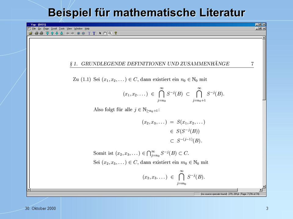 30. Oktober 200024 Math-Net Navigator - die Homepage