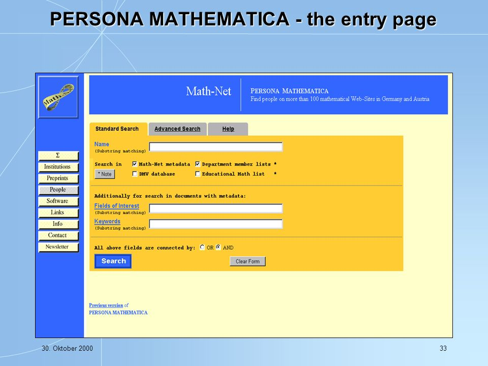 30. Oktober 200033 PERSONA MATHEMATICA - the entry page