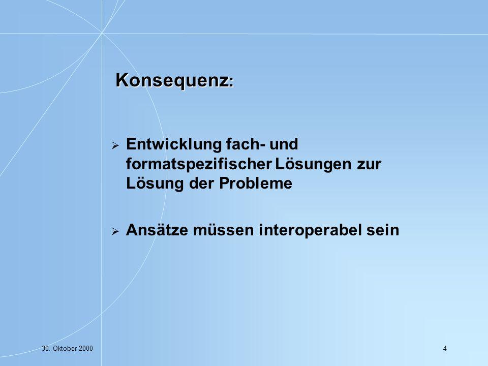30. Oktober 200015 Ausgangspunkt: Math-Net Initiative in Deutschland