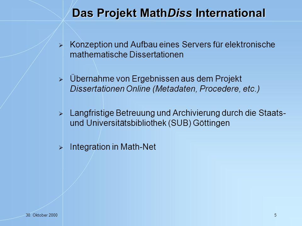 30. Oktober 200016 Organisation durch die IuK-Fachgruppe der DMV/ÖMG
