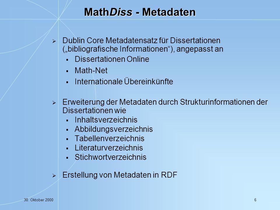 30. Oktober 200017 Aufbau und Strukturierung der lokalen nformationsangebote: Die Math-Net Seite