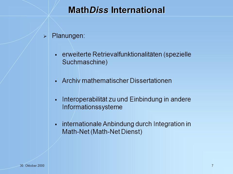 30. Oktober 20008 Math-Net - eine Übersicht Dr. Wolfram Sperber ZIB