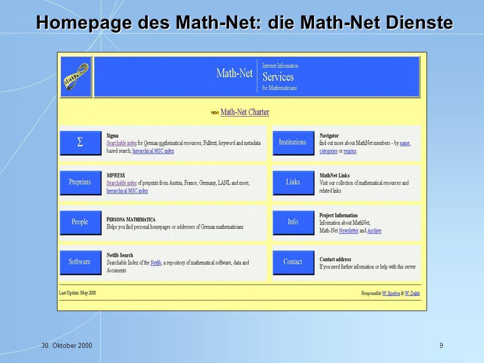 30. Oktober 200040 (Mathematical) Software - die Homepage