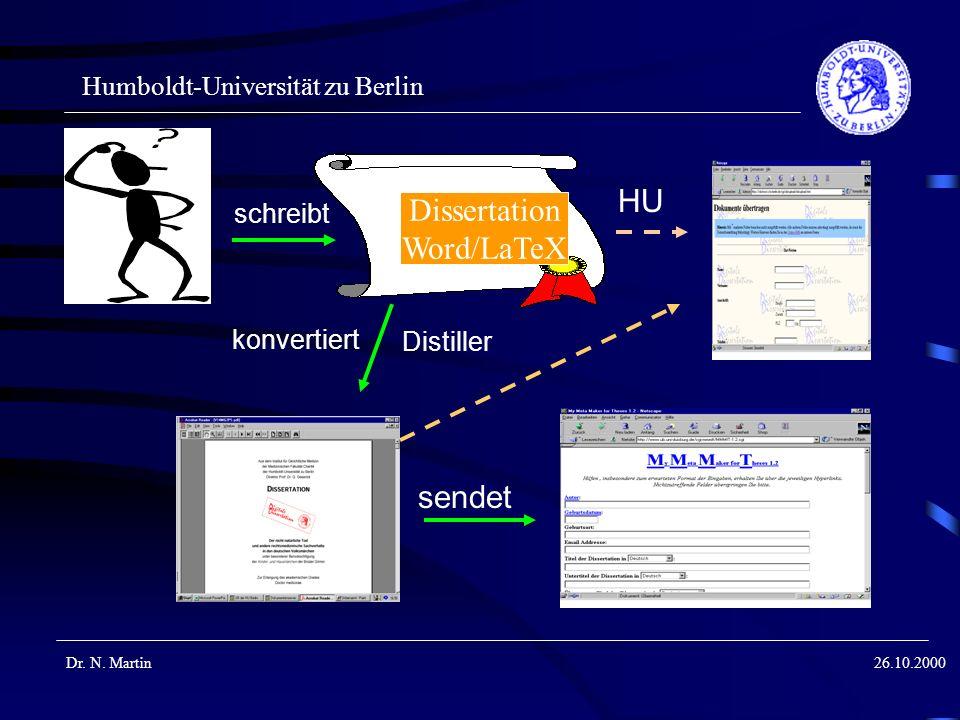 Humboldt-Universität zu Berlin Dr. N. Martin26.10.2000 Dissertation Word/LaTeX schreibt konvertiert sendet HU Distiller