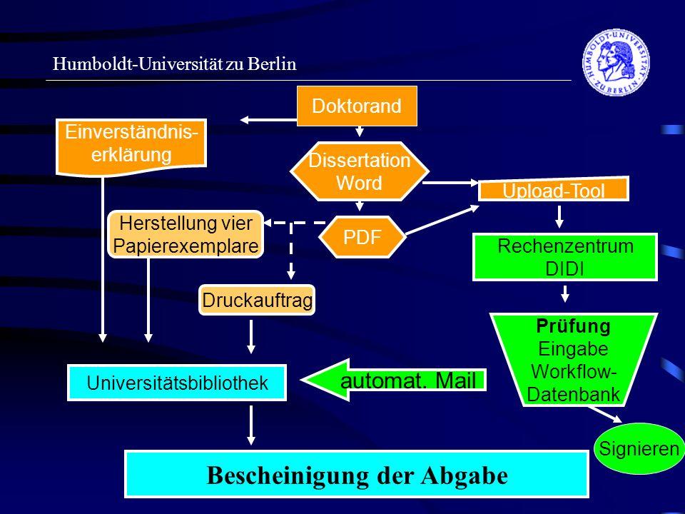 Humboldt-Universität zu Berlin Doktorand Upload-Tool Rechenzentrum DIDI Dissertation Word PDF Einverständnis- erklärung Universitätsbibliothek Druckau