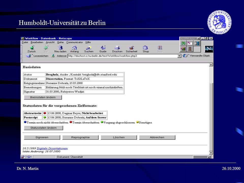 Humboldt-Universität zu Berlin Dr. N. Martin26.10.2000