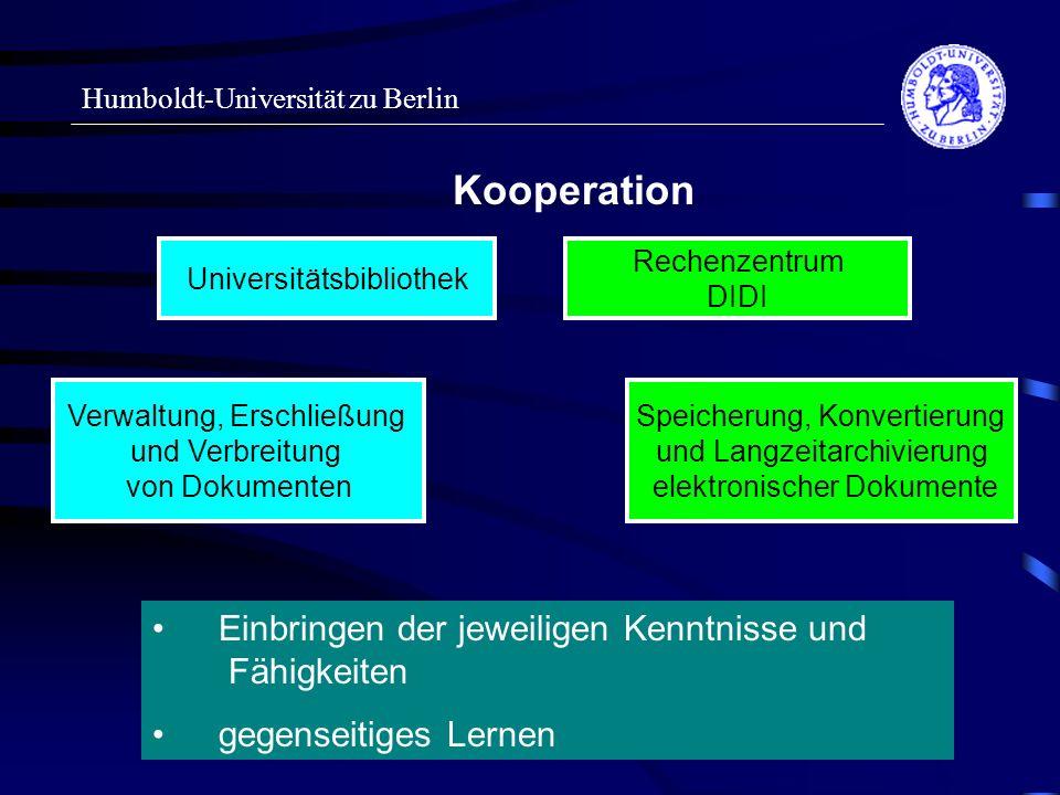 Humboldt-Universität zu Berlin Kooperation Universitätsbibliothek Rechenzentrum DIDI Einbringen der jeweiligen Kenntnisse und Fähigkeiten gegenseitiges Lernen Speicherung, Konvertierung und Langzeitarchivierung elektronischer Dokumente Verwaltung, Erschließung und Verbreitung von Dokumenten