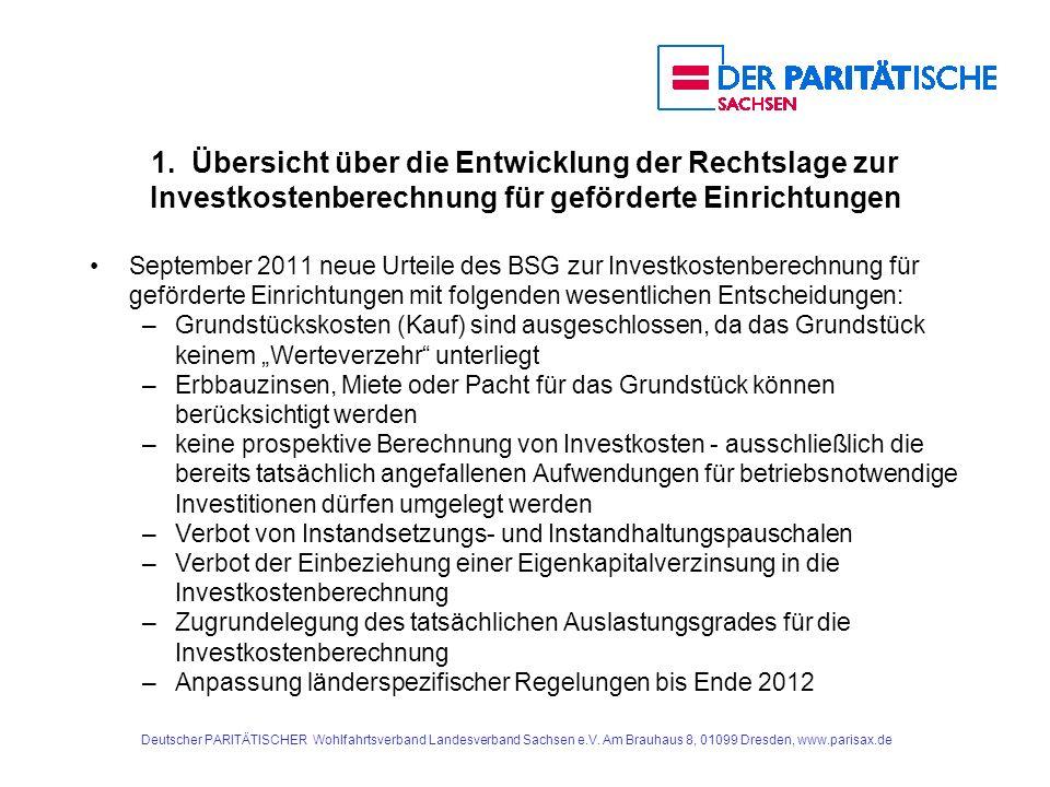 1. Übersicht über die Entwicklung der Rechtslage zur Investkostenberechnung für geförderte Einrichtungen September 2011 neue Urteile des BSG zur Inves
