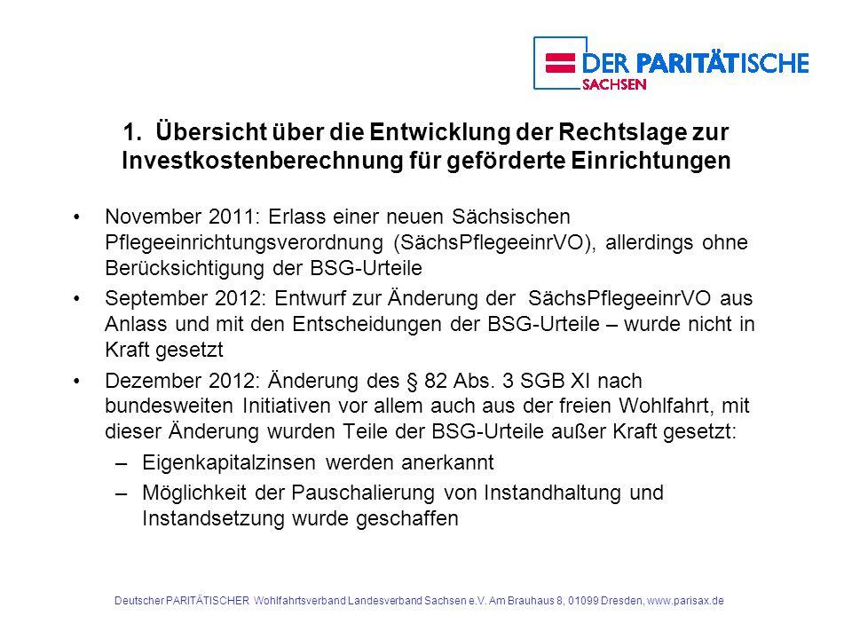 1. Übersicht über die Entwicklung der Rechtslage zur Investkostenberechnung für geförderte Einrichtungen November 2011: Erlass einer neuen Sächsischen