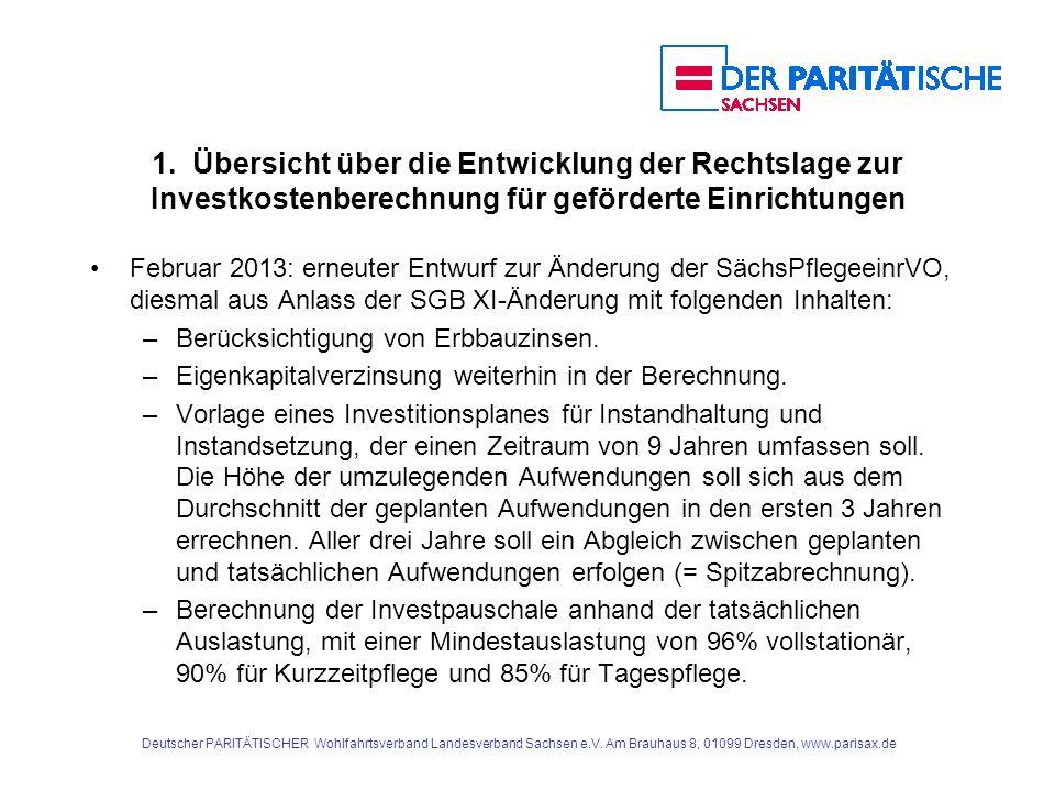1. Übersicht über die Entwicklung der Rechtslage zur Investkostenberechnung für geförderte Einrichtungen Februar 2013: erneuter Entwurf zur Änderung d