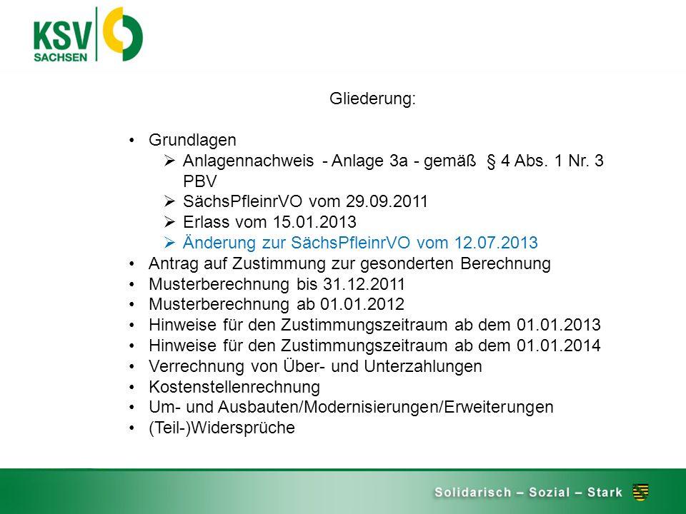 Gliederung: Grundlagen Anlagennachweis - Anlage 3a - gemäß § 4 Abs. 1 Nr. 3 PBV SächsPfleinrVO vom 29.09.2011 Erlass vom 15.01.2013 Änderung zur Sächs