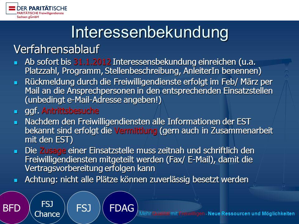 Interessenbekundung FSJ Chance FSJ FDAGBFD Mehr Qualität mit Freiwilligen - Neue Ressourcen und Möglichkeiten Verfahrensablauf Ab sofort bis 31.1.2012 Interessensbekundung einreichen (u.a.