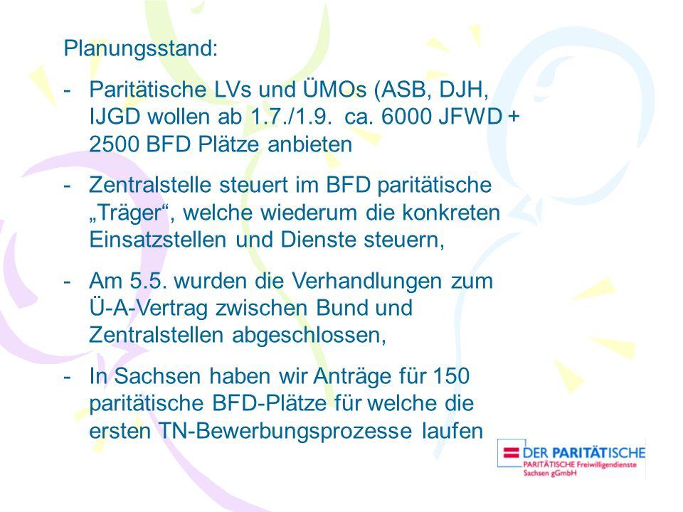 Planungsstand: -Paritätische LVs und ÜMOs (ASB, DJH, IJGD wollen ab 1.7./1.9. ca. 6000 JFWD + 2500 BFD Plätze anbieten -Zentralstelle steuert im BFD p