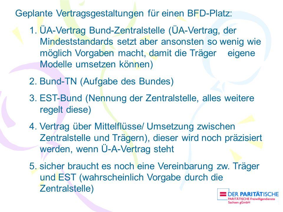 Geplante Vertragsgestaltungen für einen BFD-Platz: 1. ÜA-Vertrag Bund-Zentralstelle (ÜA-Vertrag, der Mindeststandards setzt aber ansonsten so wenig wi