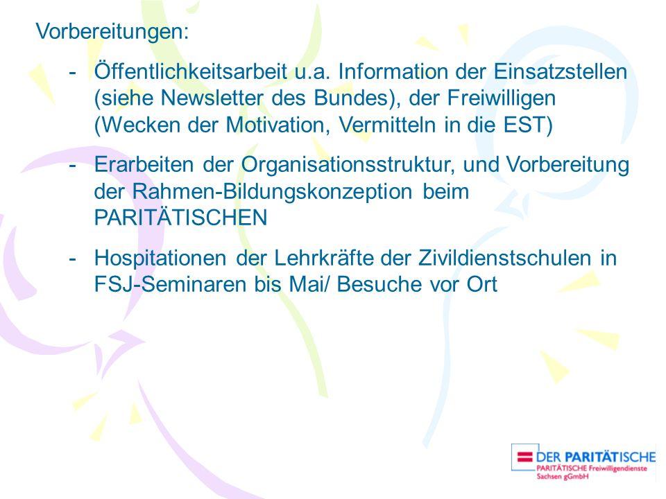 Vorbereitungen: -Öffentlichkeitsarbeit u.a. Information der Einsatzstellen (siehe Newsletter des Bundes), der Freiwilligen (Wecken der Motivation, Ver