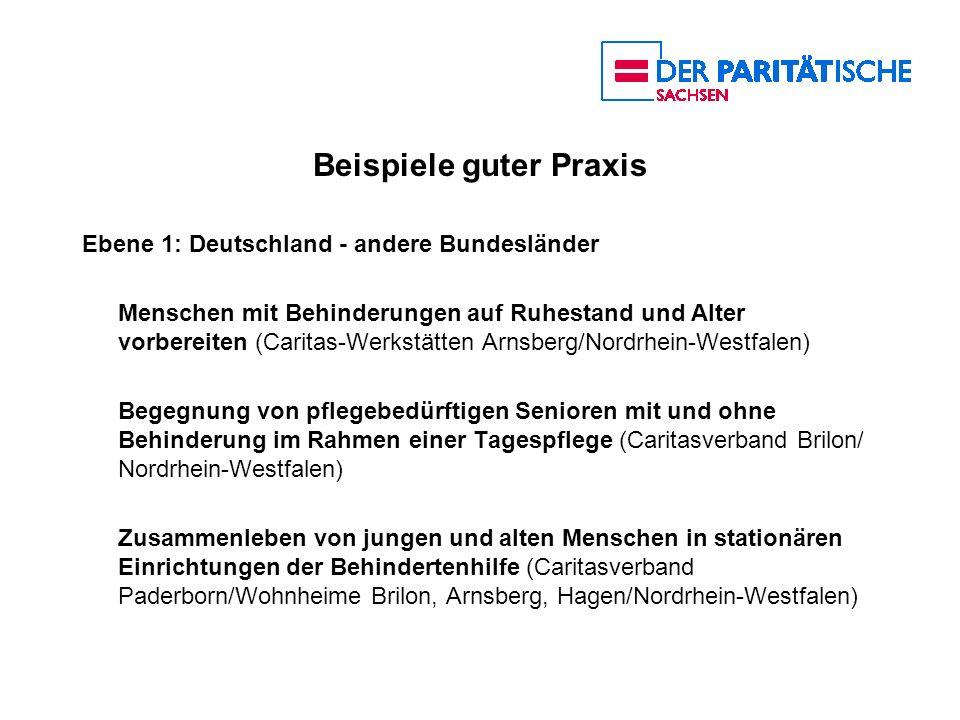 Beispiele guter Praxis Ebene 1: Deutschland - andere Bundesländer Menschen mit Behinderungen auf Ruhestand und Alter vorbereiten (Caritas-Werkstätten