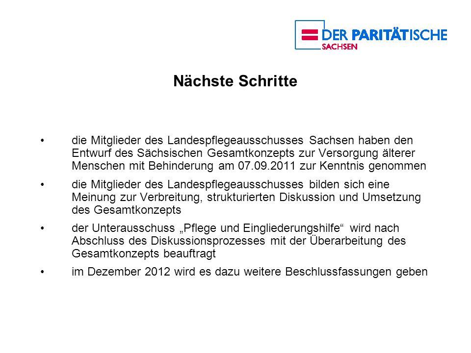 Nächste Schritte die Mitglieder des Landespflegeausschusses Sachsen haben den Entwurf des Sächsischen Gesamtkonzepts zur Versorgung älterer Menschen m